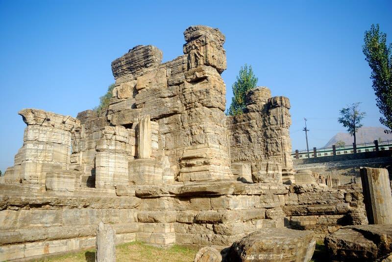 Hindoese tempelruïnes, Avantipur, Kashmir, India stock foto's