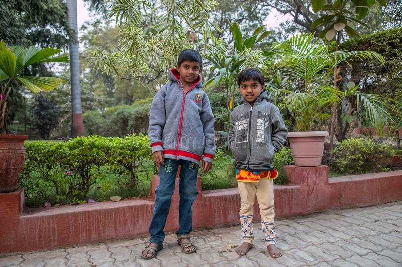 Hindu boys in Vari Maharashtra royalty free stock image