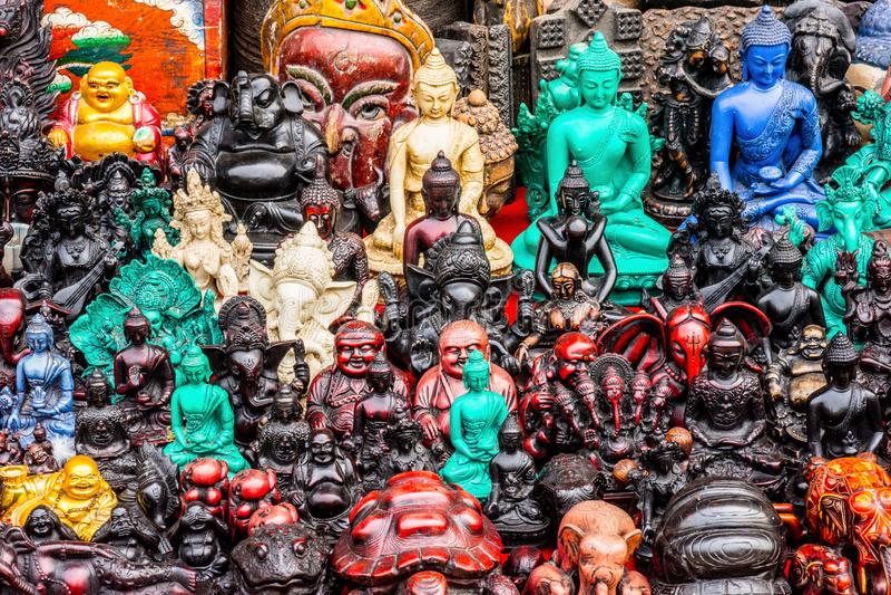 Hindu and Buddhist gods arranged together royalty free stock image
