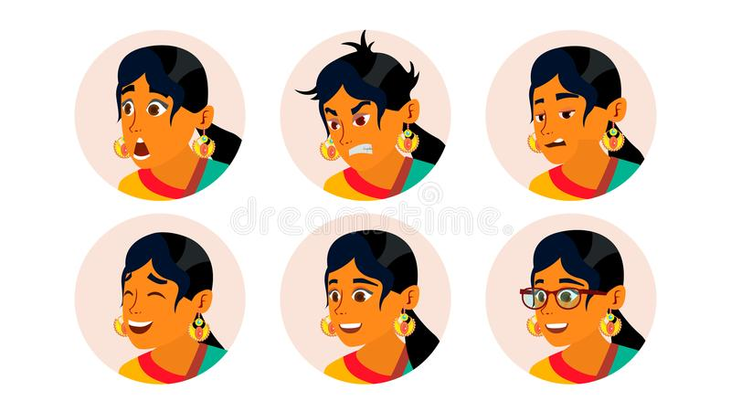 Hindu Business Woman Avatar Vector. Woman Face, Emotions Set. Indian Female Creative Placeholder. Modern Girl. Comic Art. Hindu Business Woman Avatar Vector royalty free illustration