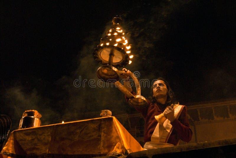 Hindu Ceremony. Ganga Seva Nidhi ceremony in Varanasi.Hindu priests perform religious Ganga Aarti ritual on January, 2011 at Varanasi, Uttar Pradesh, Central stock photos