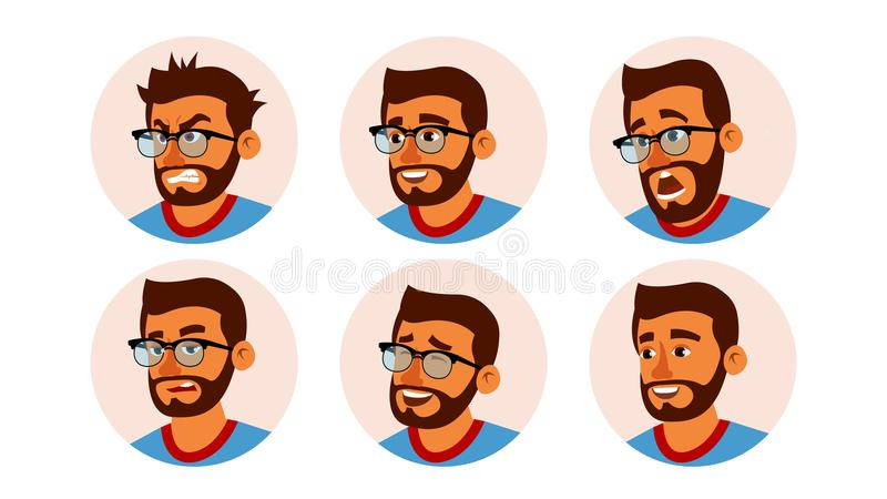 Hindu Character Business People Avatar Vector. Bearded Man Face, Emotions Set. Creative Avatar Placeholder. Cartoon vector illustration