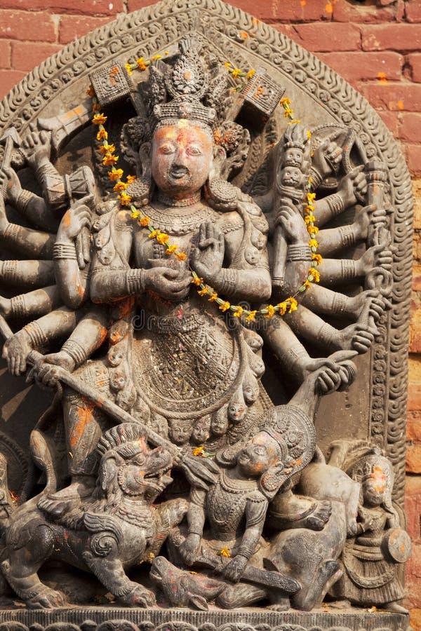 Hindu Deity at Bhaktapur Durbar Square, Nepal stock photos