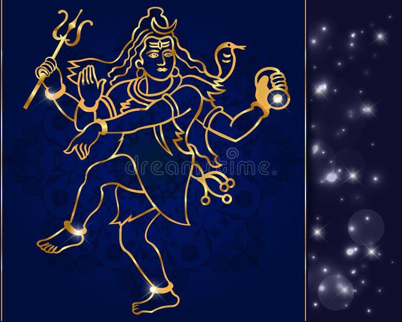 Hindu deity lord Shiva on a sparkling background stock illustration