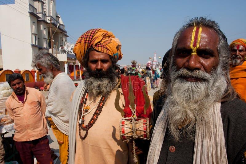 Hindu devotees on Kumbha Mela stock images