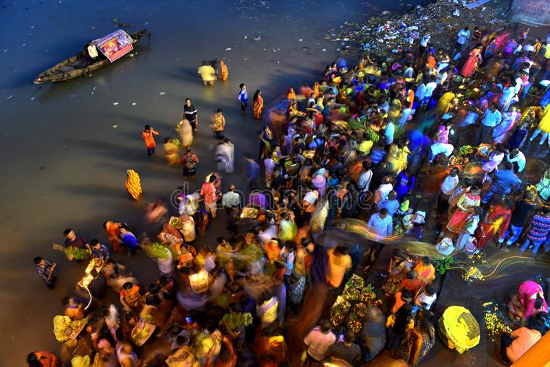 Chhat Festival. Hindu devotees are performing ritual on the occasion of Chhat puja at the river bank of Ganga , on November 13 . 2018 . Making fast for the whole royalty free stock photo