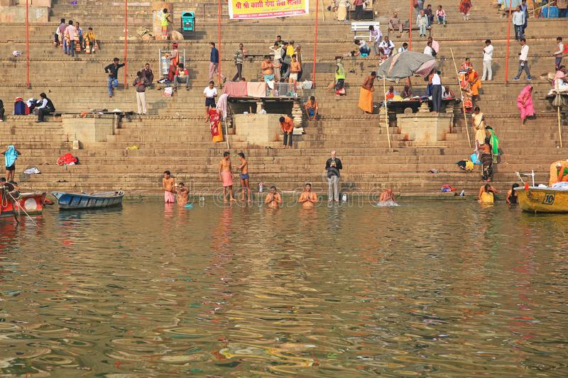 Devout Hindus Pray and Bathe In Sacred Ganges River, India royalty free stock photography