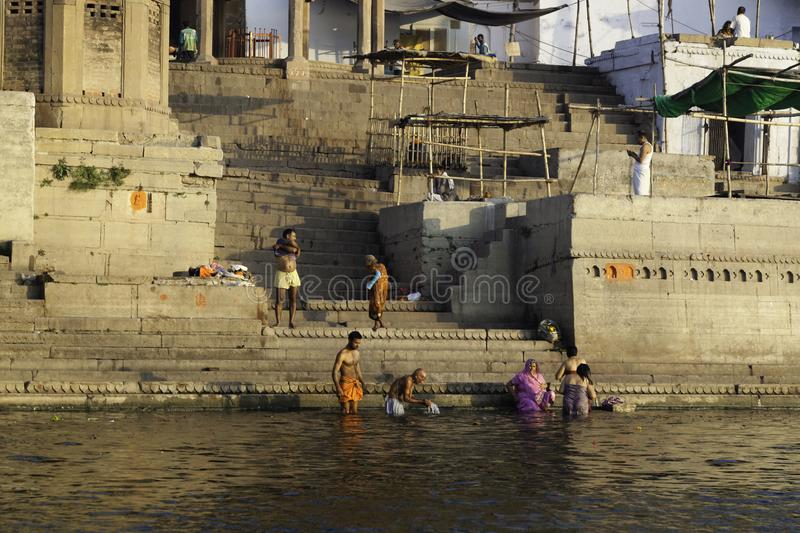Daily Rituals Found on the Ghats stock images