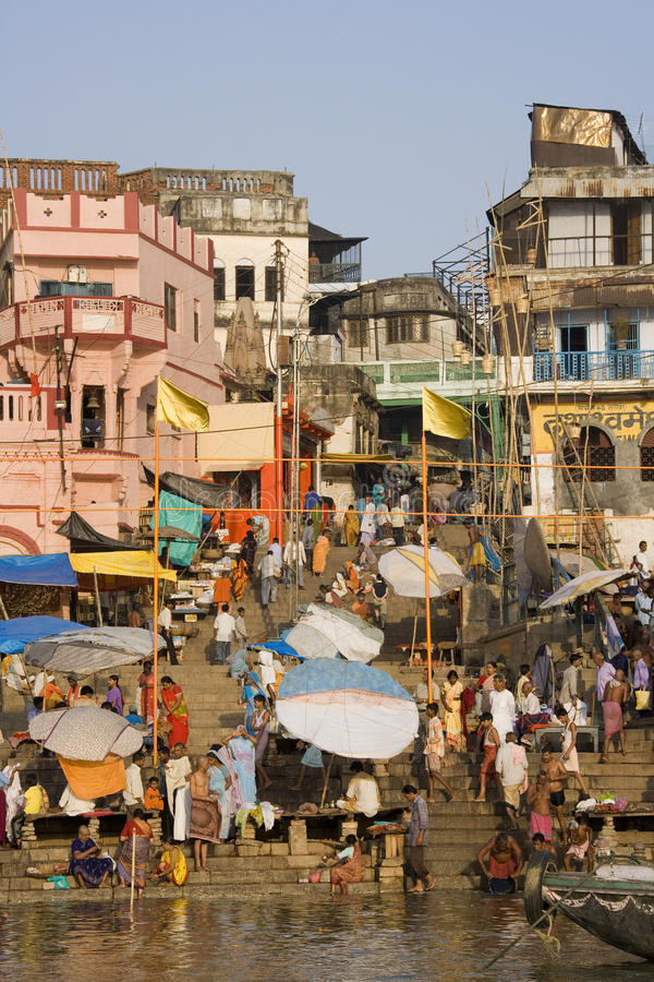 Hindu Ghats - River Ganges - Varanasi stock image