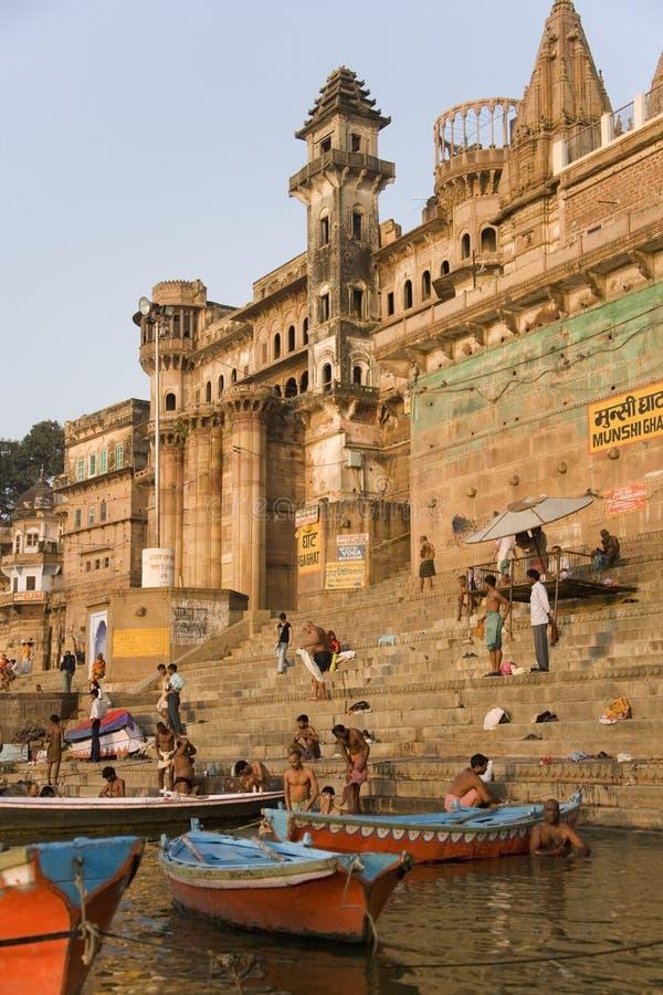 Hindu Ghats - River Ganges - Varanasi - India stock photo