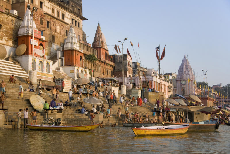 Hindu Ghats - River Ganges - Varanasi - India stock images