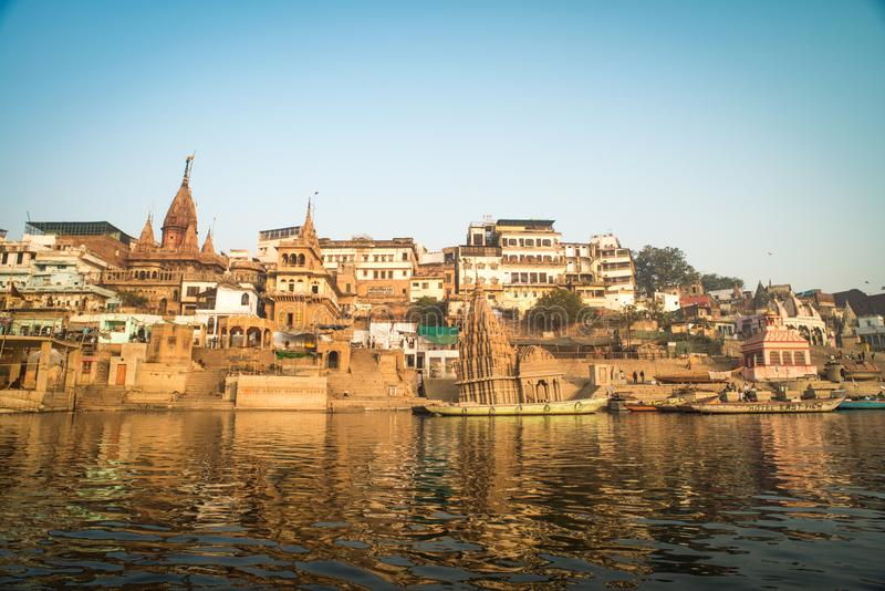 The Hindu Ghats on the River Ganges in Varanasi in India stock image