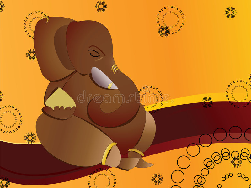 Hindu God Ganesh. (son of Shiva) on wavy background stock illustration