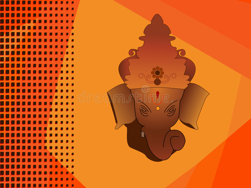 Hindu God ganesh. Orange Abstract halftone Background royalty free illustration
