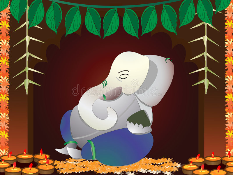 Hindu God ganesh. Inside the decorated temple royalty free illustration