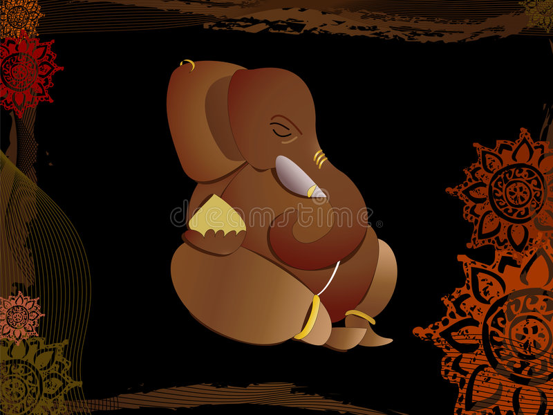 Hindu God ganesh. ( son of shiva) on abstract background vector illustration