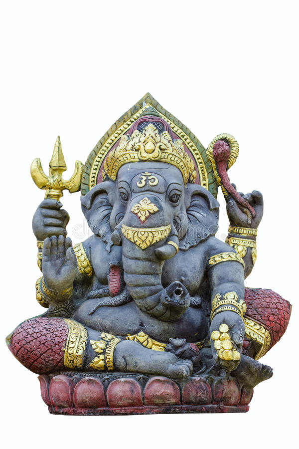 Hindu God Ganesh. Over a white background stock photography