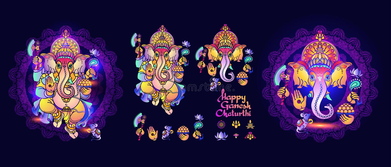 Hindu God Ganesha. Set of Lord Ganesh elements. Vector. stock illustration