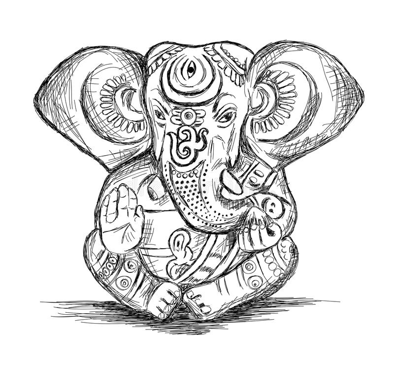 Hindu God Ganesha - Vector Sketch Illustration royalty free illustration
