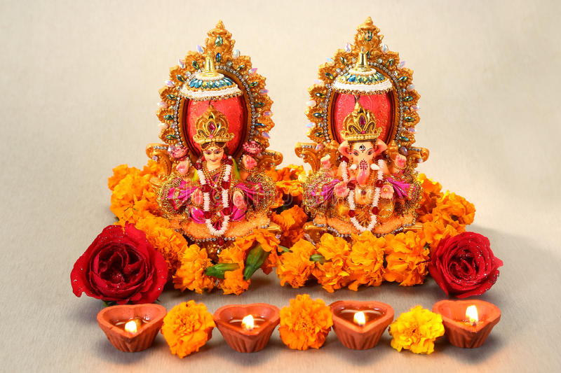 Hindu God Laxmi Ganesh stock images