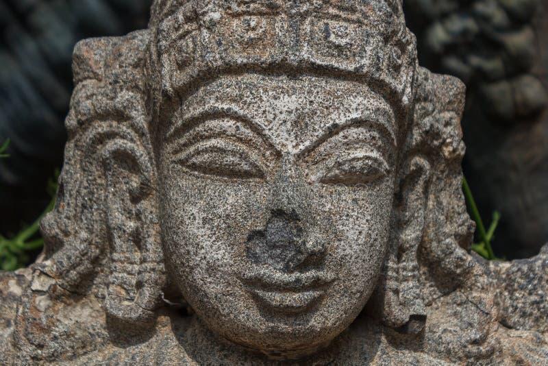 Hindu god lord vishnu stone caring royalty-vrije stock fotografie