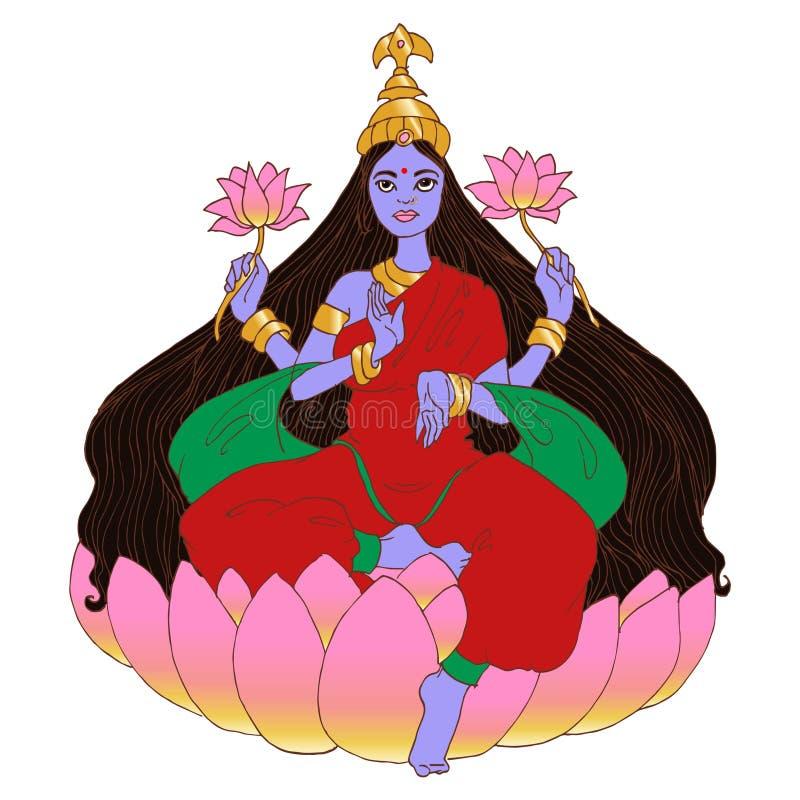 Hindu Goddess Lakshmi. Dhanteras. Navaratri. Diwali. Hand drawn illustration vector illustration