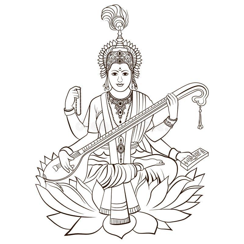 Hindu Goddess Saraswati. Vector hand drawn. Illustration stock illustration