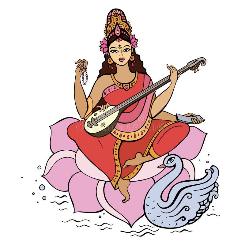 Hindu Goddess Saraswati. Vector hand drawn illustration stock illustration