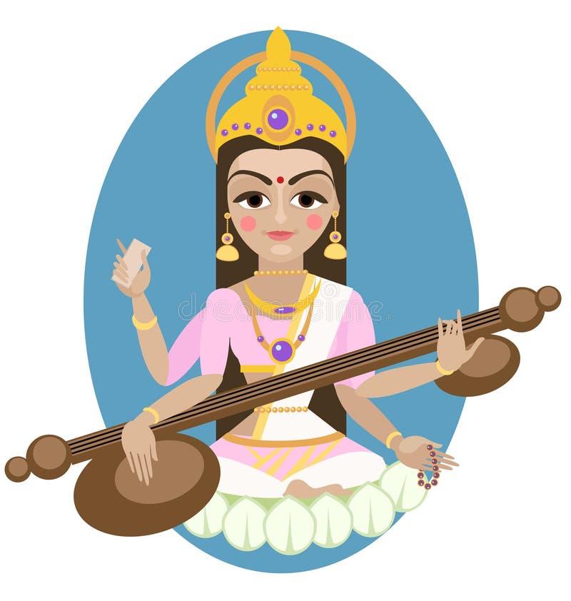 Hindu Goddess Saraswati. stock illustration