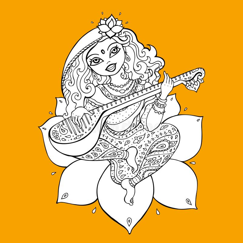 Hindu Goddess Saraswati. Vector hand drawn illustration royalty free illustration