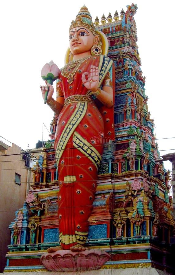 Hindu godess statue on a temple gopuram stock image