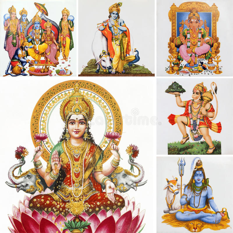 Hindu gods collage. Composition with hindu gods isolated on white, India stock photography