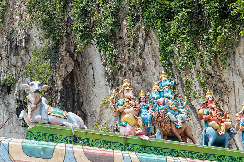 Hindu gods statues with Ganesha at Batu caves near Kuala Lumpur Malaysia royalty free stock photo