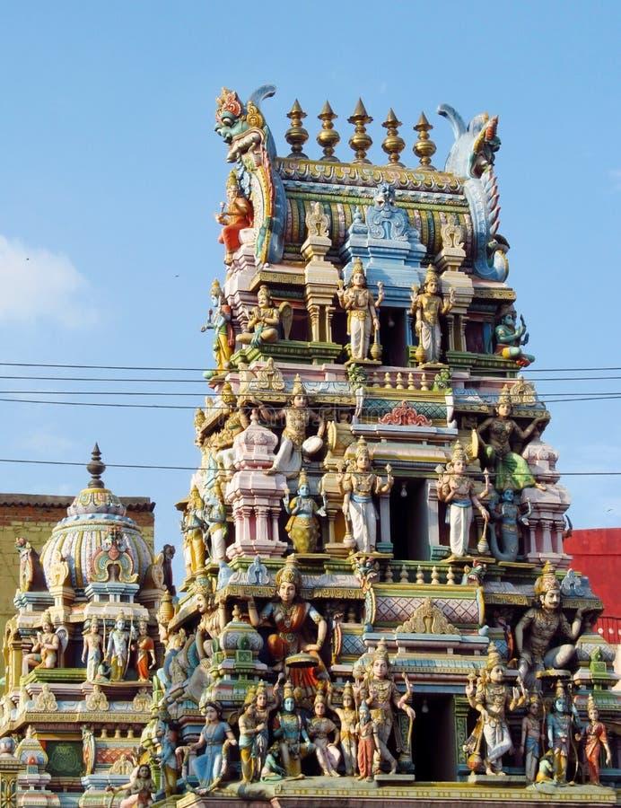 Hindu gods statues on a temple gopuram stock photo