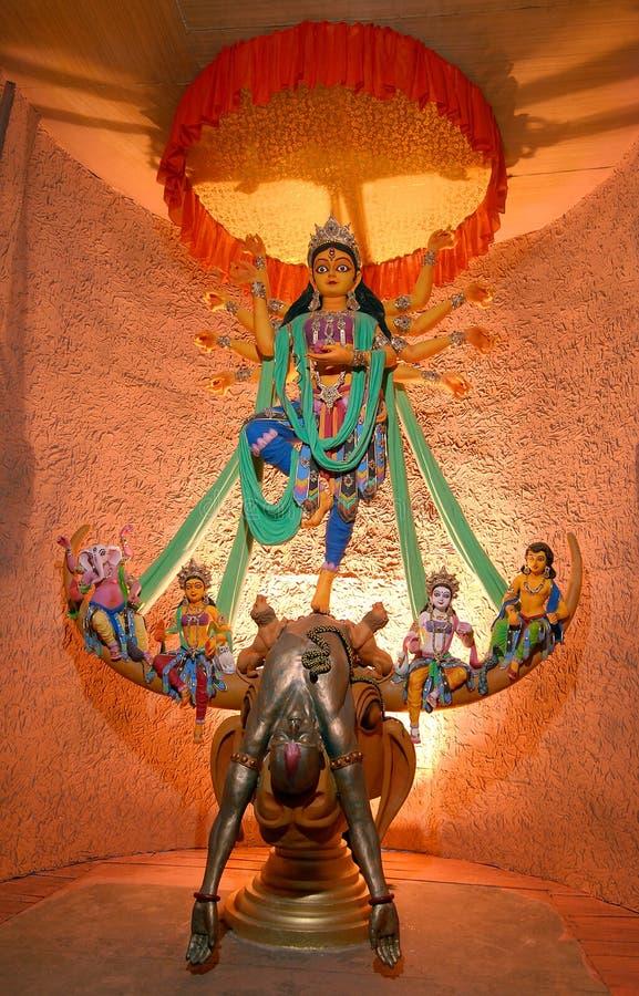 Hindu Idol Durga. Goddess Durga idol in a decorated marquee stock photo