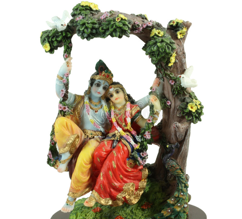 Hindu illustration of Radha-Krishna signifying lo. Illustration of Radha-Krishna signifying love as venerated in traditional Hindu culture stock image