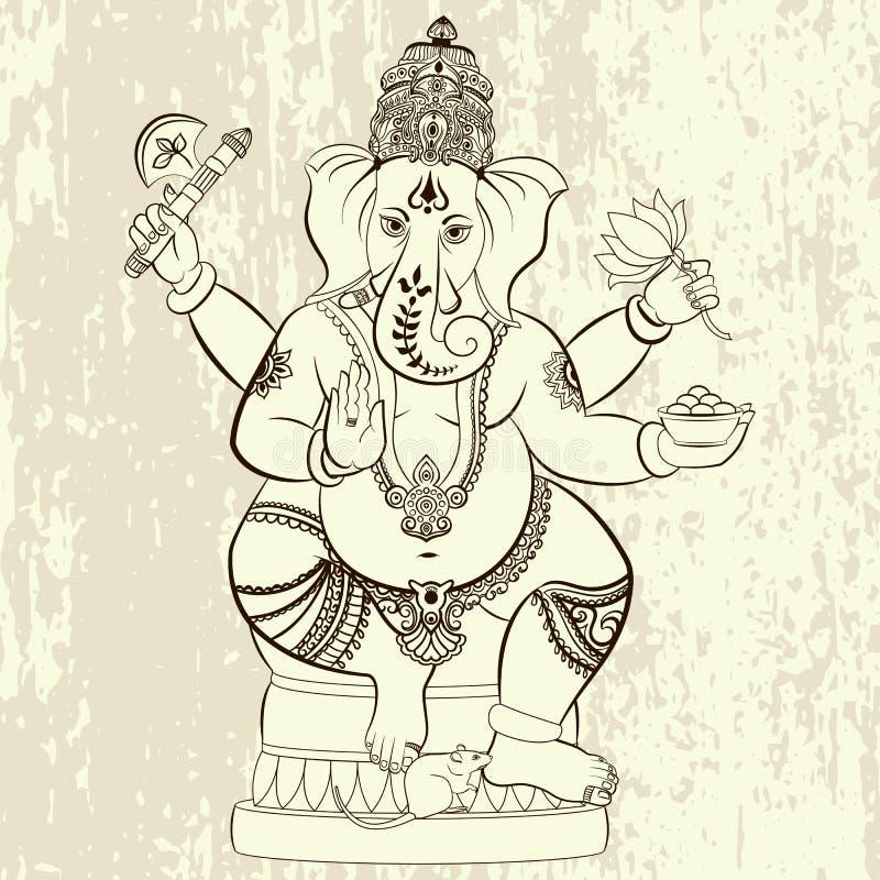 Hindu Lord Ganesha. royalty free illustration