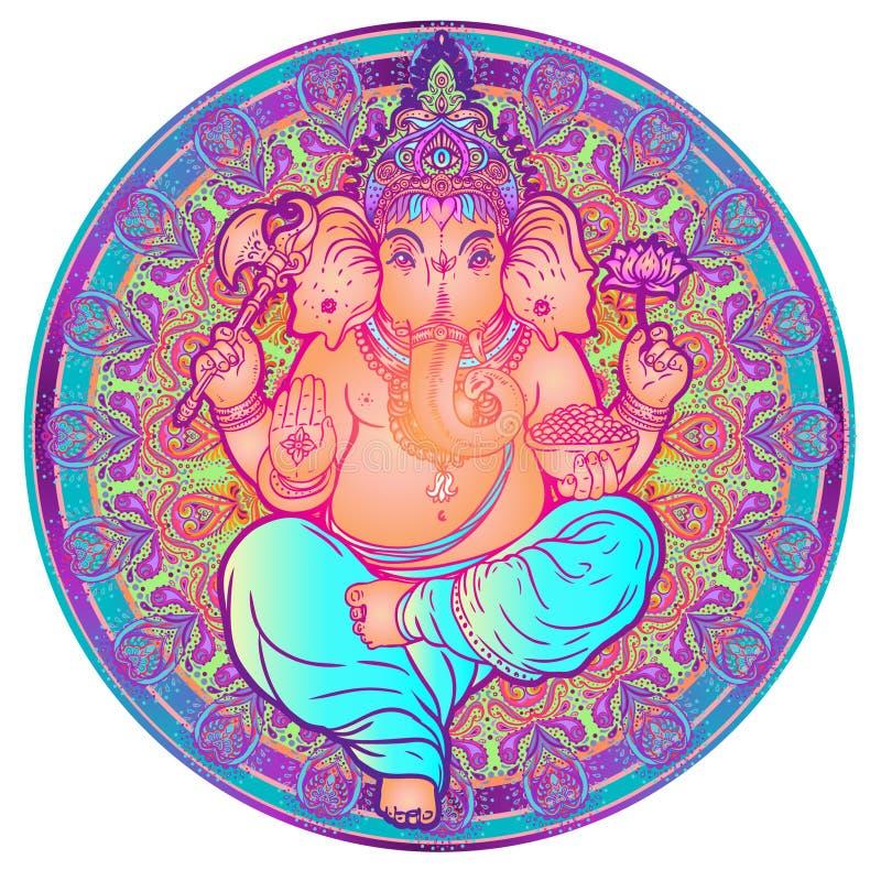 Hindu Lord Ganesha over ornate colorful mandala. Vector illustration. Elephant design, boho pattern, psychedelic ornaments. Ethnic poster, spiritual art, yoga vector illustration