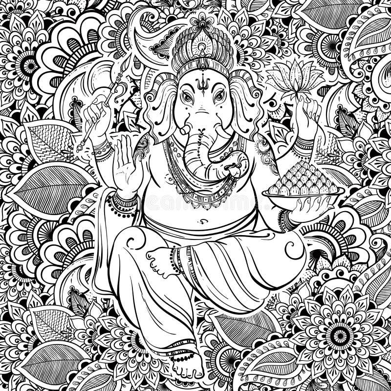Hindu Lord Ganesha over ornate zentangle pattern. Vector illustration. Hand drawn background zentangle style inspired. Tattoo. stock illustration