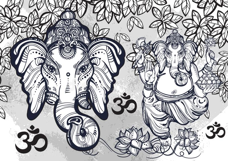 Hindu Lord Ganesha over watercolor background. Beautiful floral elements aroud. High-detailed vector illustration, tattoo art. royalty free illustration
