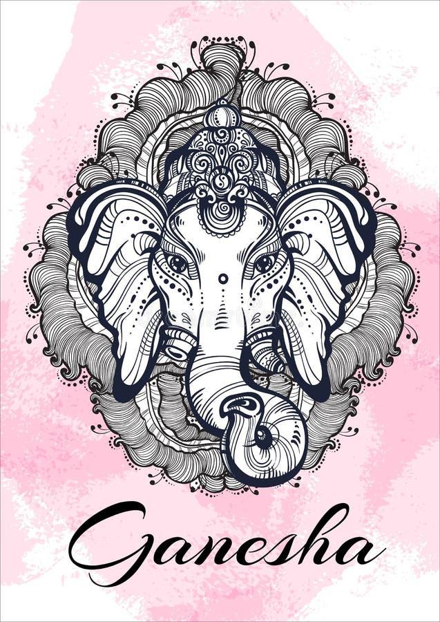 Hindu Lord Ganesha sobre o fundo da aquarela Aroud floral bonito dos elementos ilustração Alto-detalhada do vetor, arte da tatuag ilustração stock