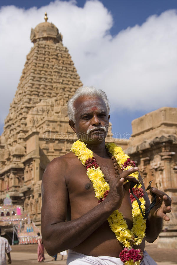 Hindu man at Brihadishvara Temple - Thanjavur. Hindu man at the Brihadishvara Hindu Temple in Thanjavur (Tanjore) in the Tamil Nadu region of southern India stock photography