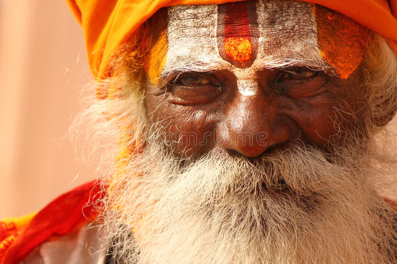 A hindu monk at Varanasi stock images