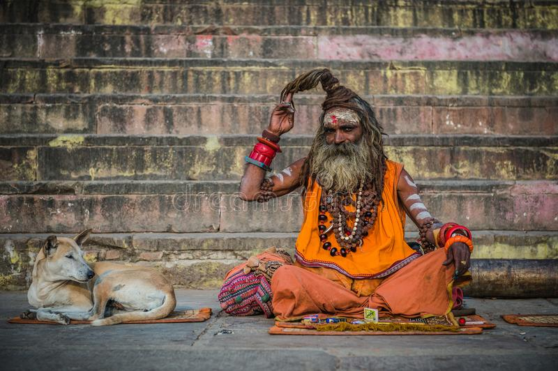 A portrait of a Sadhu as seen in Varanasi. A Hindu monk, painted his forehead with holy colors on the bank of river Ganga, at Varanasi, India. It is said that royalty free stock photos
