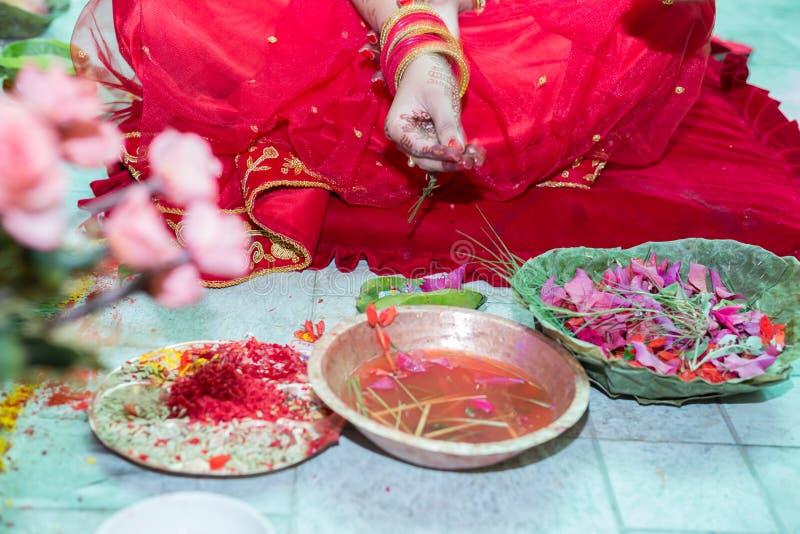 Hindu Nepali Bride`s Hand stock photo