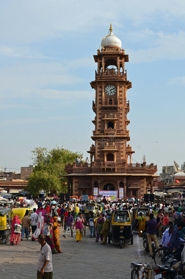 Hindu New Year , Clock Tower, Jodhpur, India royalty free stock image