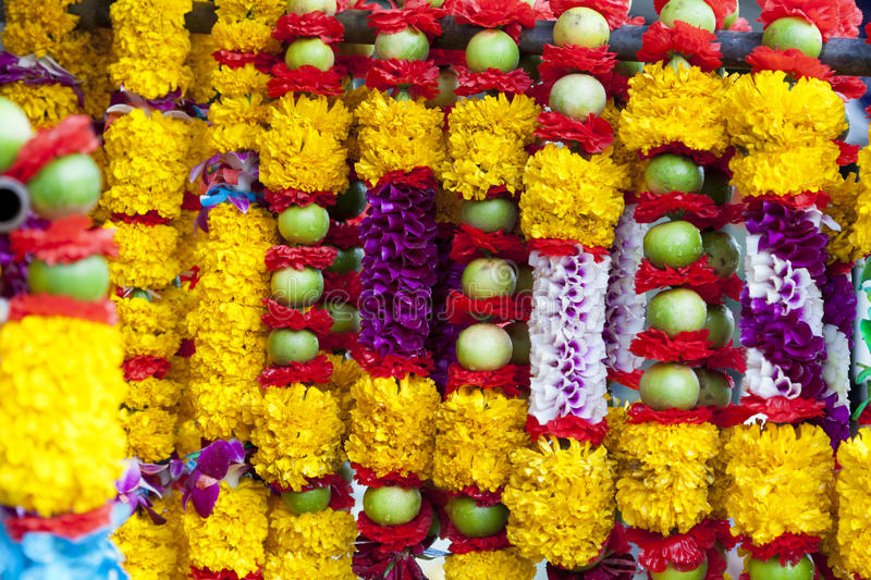 Hindu offerings. Flower and fruit garlands for Hindu religious ceremony stock image