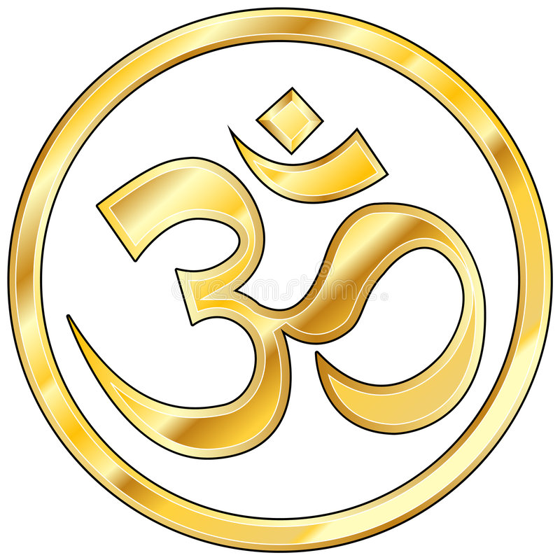 Hindu om vector in gold. Hindu om character icon isloated on white with gold texture and color stock illustration