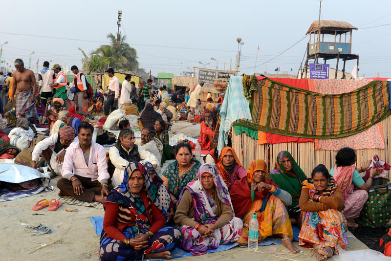 Hindu Pilgrims. Around 160 kms south of Kolkata on January 14, 2015. Sadhus and Hindu pilgrims from all over the country come for the annual Hindu holy festival stock image