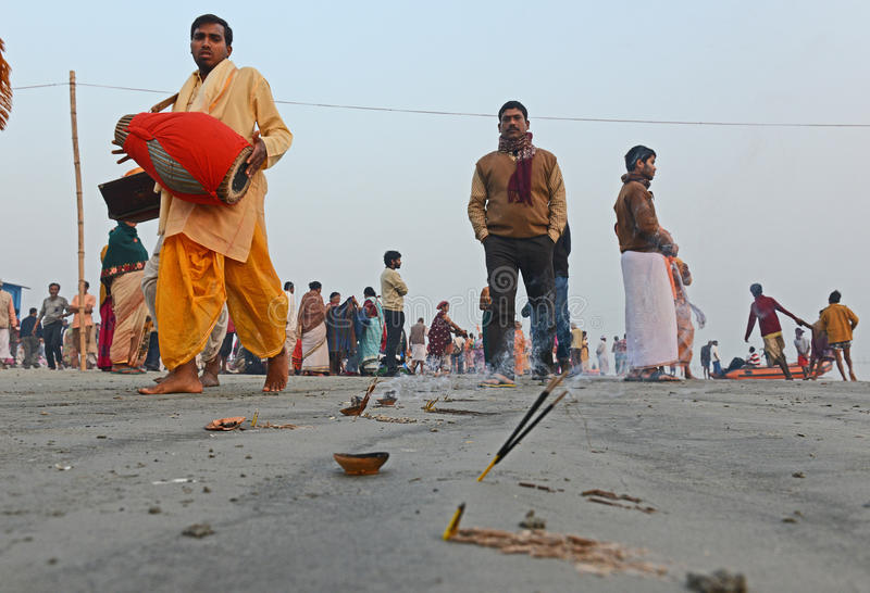 Hindu Pilgrims. Around 160 kms south of Kolkata on January 14, 2015. Sadhus and Hindu pilgrims from all over the country come for the annual Hindu holy festival stock photos